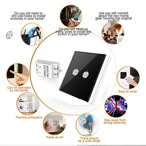 Nacome Wireless Wall Switch Lighting Control,2 x receivers,Remote Operation,Capacitive Glass Wireless Wall Switch (Black) by Nacome (Image #3)