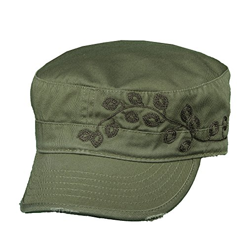 Military Cap Hat Olive (Dorfman Pacific Women's Cotton Vine Embroidery Military Cadet Hat, Olive)