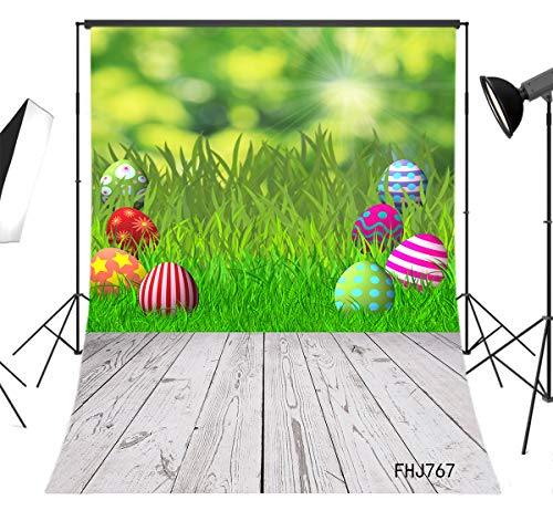 LB Rustic Brown Wood Floor Easter Backdrop for Photography 5x7ft Fabric Green Grass Eggs Spring Background Customized Children Kids Adult Portraits Photo Backdrop Studio Props,Washable