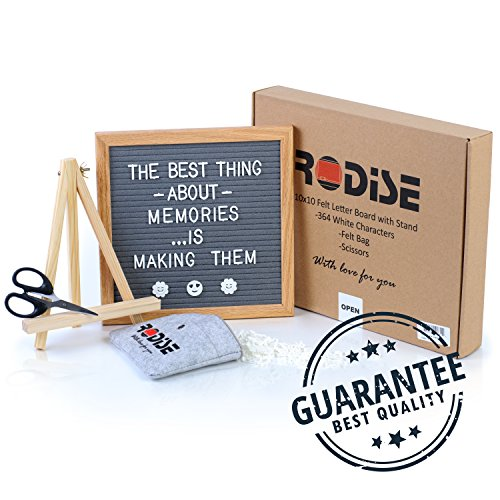 - Grey Felt Letter Board With Scissors and 364 Letters - Emoji sign & Numbers - Special Storage Bag - Wood Stand Changeable Message Boards - Oak Frame 10x10 inch - Wall Mount - Perfect Gift