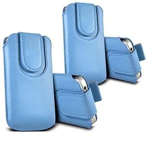 ONX3 - TWIN PACK - Samsung Galaxy Core Plus G3500 botón magnético PU Tire de la lengüeta protectora de piel cubierta de bolsa de la caja (Baby Blue)