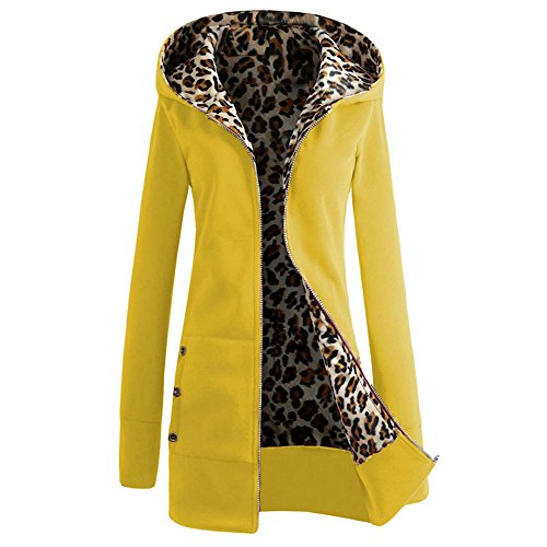 [Women's Leopard Print Fleeve Hooded Zipper Jacket Casual Winter Warm Slim Long Coat Outerwear (L, Yellow)] (Winter Warm Zipper Closure)