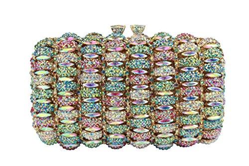 Yilongsheng Prom mujeres monederos con el cristal y la cadena AB color
