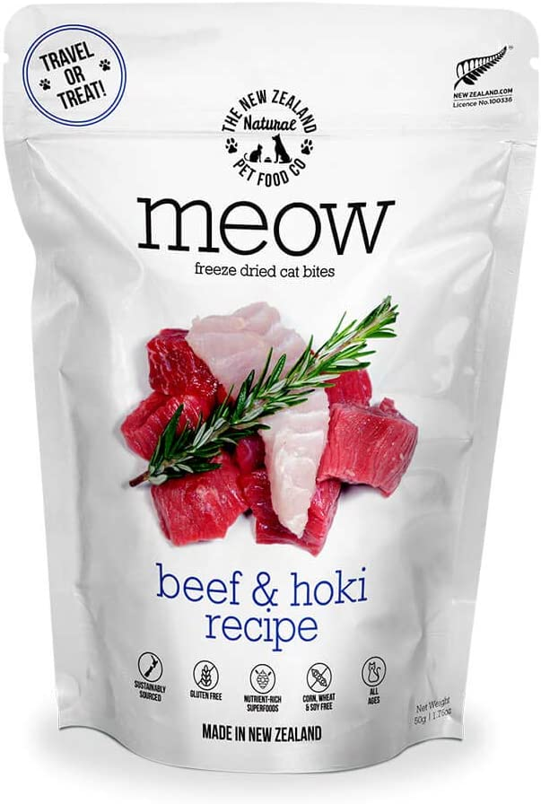 The New Zealand Natural Pet Food Co. Meow Beef & Hoki Freeze Dried Raw Cat Food, Topper, or Treat - High Protein, Natural, Limited Ingredient Recipe 1.76 oz, Brown (NZ-MFD050BH)