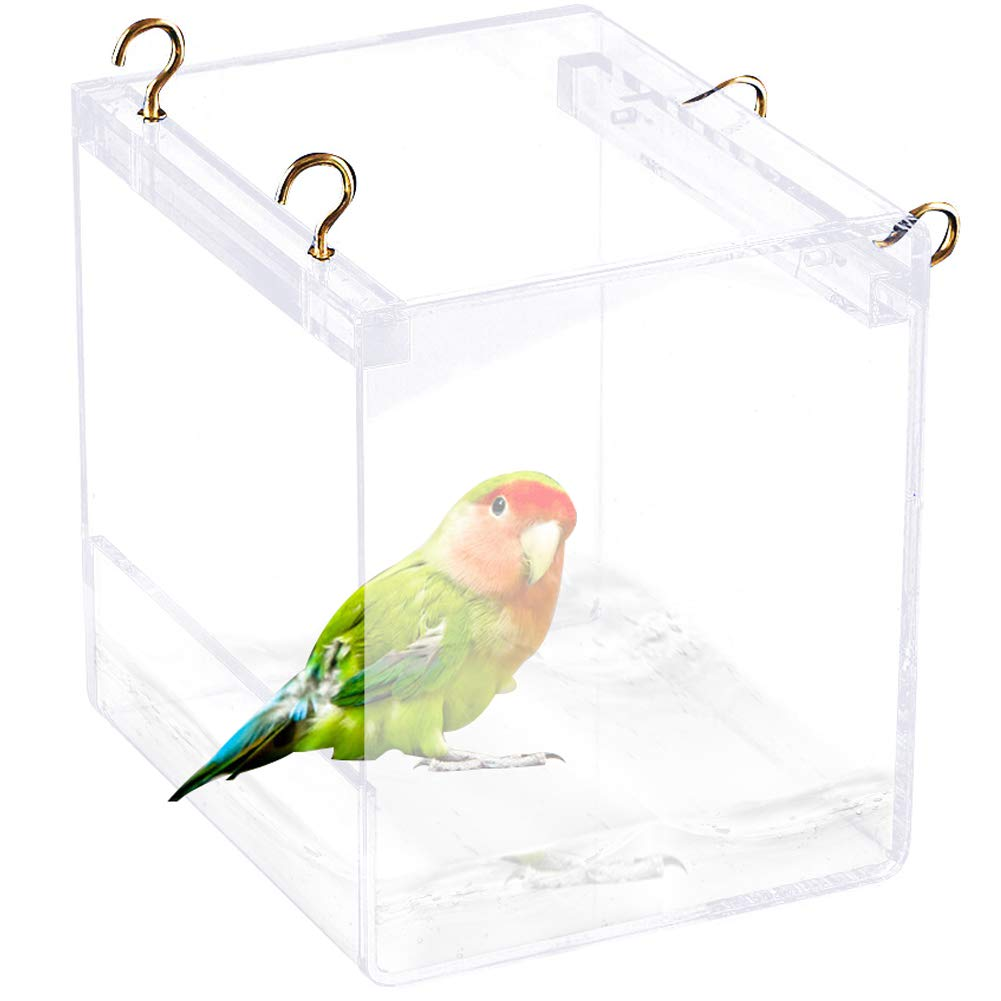 Tfwadmx Bird Bathtub for Cage Parrot Bath Shower Box BowlNo-Leakage Design with Hooks for Small Bird Parrot Myna Budgie Lovebird