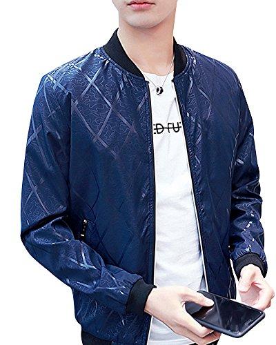 Jacket Bomber Largas Cierre Mangas Rayas A Cremallera Estampado Hombre Abrigo De Azul Marino Chaqueta Cazadora 5EnAfFq