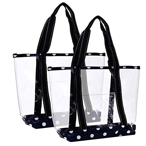 (VENO 2 Packs Large Clear Bag, Transparent Vinyl PVC Tote Bag, Long Shoulder Handbag with Zipper Closure for Stadium, Event, Outdoor, Beach, Pool, Work, Sports Games, Shopping, Grocery (BLU))