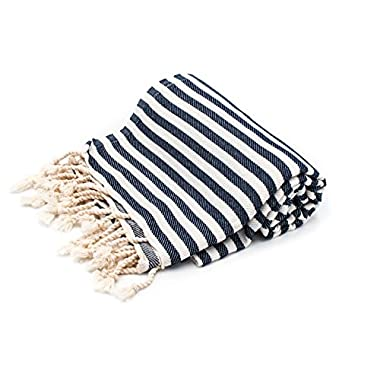 Cottoncloudco Cabana Stripe(39 x72 )Authentic Turkish Towel Cotton Towel Beach Towel ,Bath Towel,Nautical Towel,Pool towel,yoga towel,turkish towels beach,beach towel oversized Navy