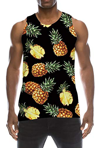 Tanks Top 80s Low Cut Thin Strap Sleeveless T Shirts Black Yellow Pineapple Ananas Green Leaves Wife-Beater Decent Jersey Tank for Summer Tropical Casual Daily Working Wear