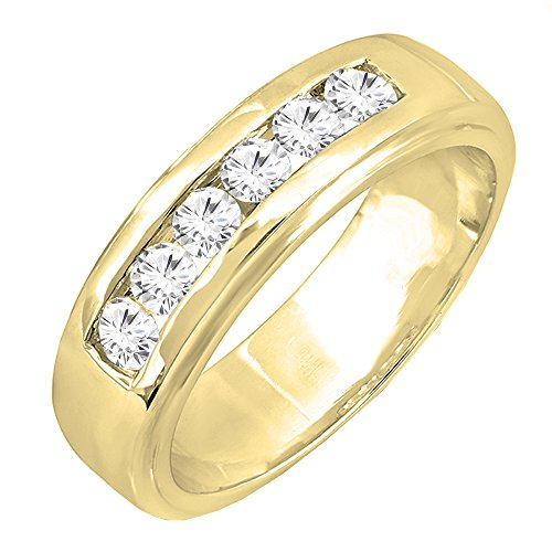 Dazzlingrock Collection 1.00 Carat (ctw) 14K Round White Diamond Channel Mens Wedding Band 1 CT, Yellow Gold, Size 11