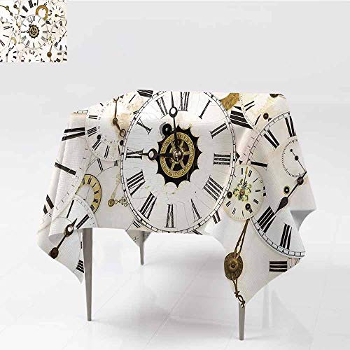 Jbgzzm Antique Square Tablecloth Collection of Vintage Classic Clock Faces Aged Analog Time Head Minute Hour Print Indoor Outdoor Camping Picnic W60 xL60 White -