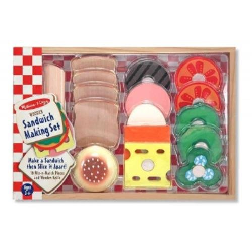 Sandwich Making Set: 16 Mix-n-match Pieces and Wooden - Play Sandwich Making Food