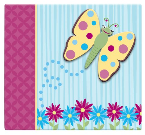 MCS MBI 13.5x12.5 Inch 3-Raised Character Scrapbook Album with 12x12 Inch Pages, Butterfly (Mbi Top Loading 12x12 Album)