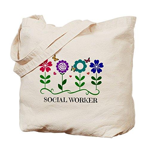 CafePress trabajador Social–�? flores y mariposas un–Gamuza de bolsa de lona bolsa, bolsa de la compra