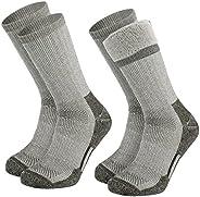 2 Pack Merino Wool Socks Mens Size 10 -13 Hiking Socks, 1/4 Crew Thick hiking socks for Men Winter,Liner Therm