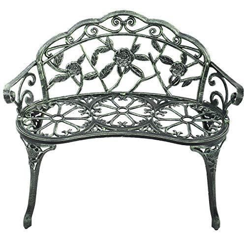 MAREEYA SHOP Outdoor Garden Bench Chair Loveseat Cast Aluminum Patio Antique Rose
