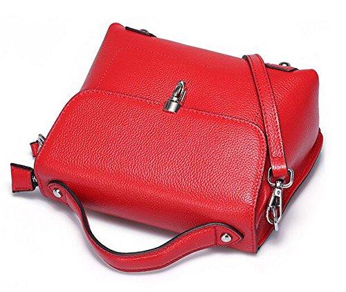 couleur épaule sac SAC Red carré avec à et glissière à SAC printemps couvercle Sac solide bandoulière Le l'été Cuir main wxpPP8