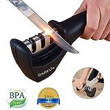 Create Life Knife Sharpener Professional Kitchen Knife Sharpener Set Steel Diamond 3 Stage Ceramic Coated Non-slip Base Chef Knife Sharpening Kit Easy to Control the Best Ideas for Women (black)