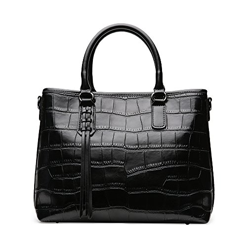TopWigy Fashion Women's Handbag Top Leather Crocodile Pattern Handle Bag Purse Satchel (Black) Crocodile Travel Bag