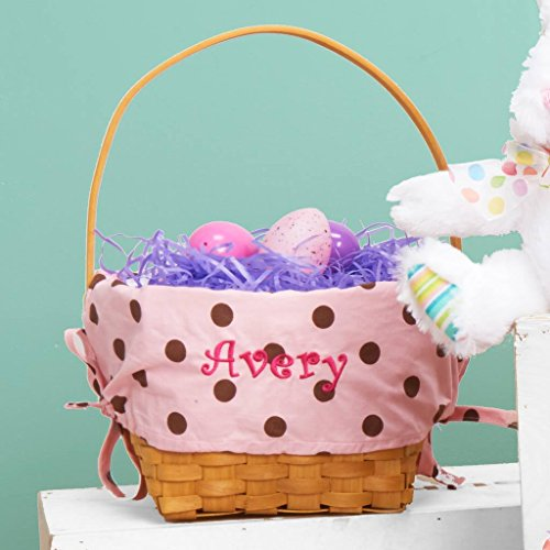 Personalized Woodchip Easter Basket with Custom Designed Liners (Large, Pink with Chocolate Polka Dots)