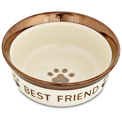Bowl Friend Dog - Harmony Best Friend Ceramic Dog Bowl, 4 Cup, Large, Brown/White