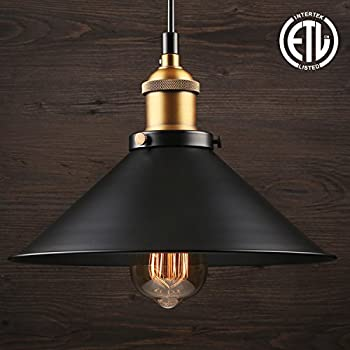 1 Light Industrial Hanging Pendant Light, Retro Vintage Style, Matte Black Metal Shade, Exquisite Workmanship, for Dining Room, Bars, Warehouse, E26 Base, ETL Certified, 3 YEARS WARRANTY