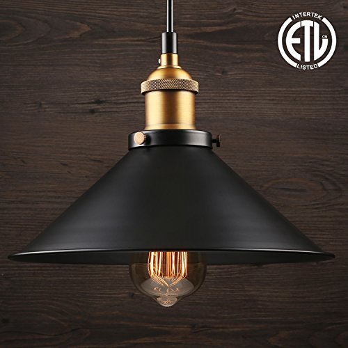 Vintage Style Metal - 1 Light Industrial Hanging Pendant Light, Retro Vintage Style, Matte Black Metal Shade, Exquisite Workmanship, for Dining Room, Bars, Warehouse, E26 Base, ETL Certified, 3 YEARS WARRANTY