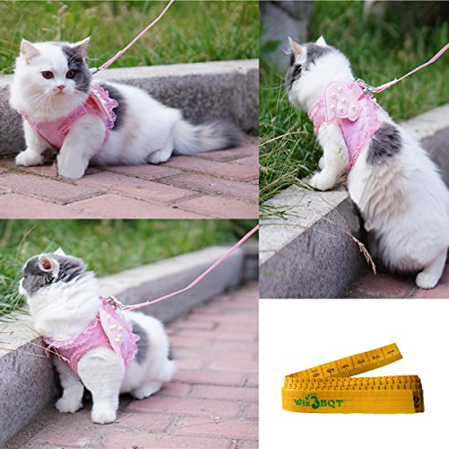 Pink Cute Adorable Pet Cat Dog Harness and Leash Set with Lace Artificial Pearl Angel Wing (Extra Small) by Wiz BBQT (Image #1)