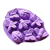 ladybug cake pan - JLHua 2 PCS Insect Silicone Cake Chocolate Mold Pan-Lady Bugs,Butterflies,Bees and Dragonflies,Random Color