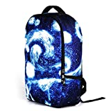 Flake Rain Unisex Beatiful Feeling Starry Sky School Shoulders Bags Outdoor Backpack(Blue)