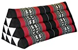 Thai triangular cushion XXL, Black/red, relaxation, beach, kapok, made in Thailand.. (81615)