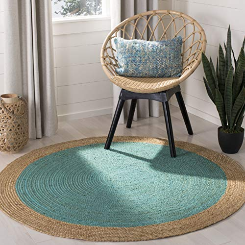 Safavieh Natural Fiber Collection NF801E Hand-Woven Teal and Natural Jute Round Area Rug (6