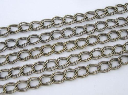 6 feet of Steel Double Twisted Vintage Brass Ox Plated Chain, Garlan USA zz 125 (Brass Ox Plated)