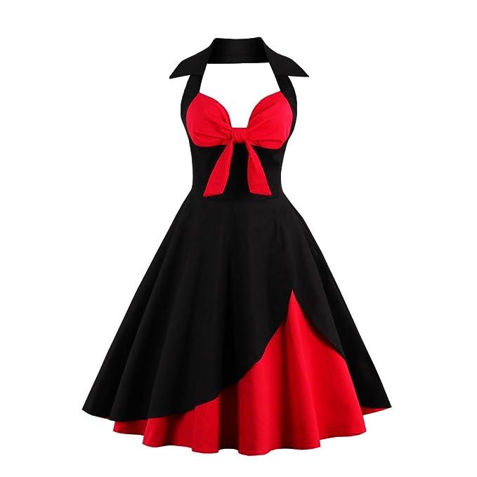 VERNASSA 50s Retro Vestidos del Coctel Retro de los años 1950 de Halterneck de Las Mujeres