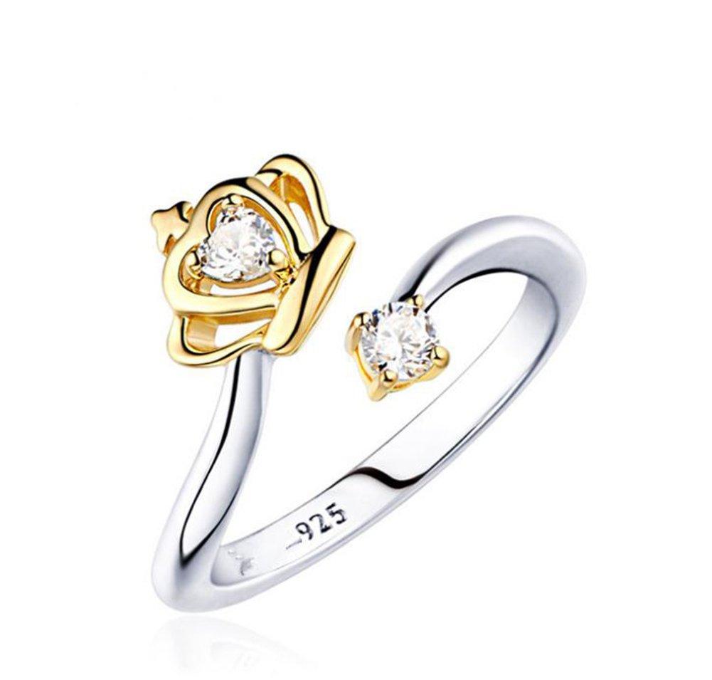 gold Treestar Strass Ring Geschenk Krone Crown LOVE FASHION Ringe f/ür M/ädchen Frauen Herren 1/St/ück about 1.7cm