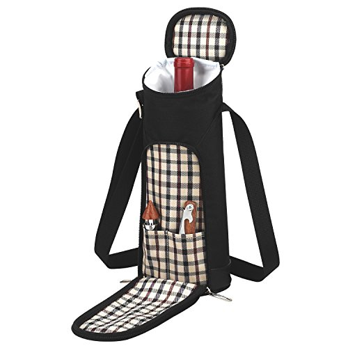 Wine Carrier Bottle Insulated (Picnic at Ascot  Stylish Single Wine Bottle Tote Bag with Corkscrew and Wine Stopper - London Plaid)