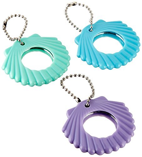 Seashell Keychain Favors - Amscan Disney Ariel Seashell Compact Mirror Keychain Birthday Party Favours (12 Pack), Multi Color, 2 1/4 x 2 1/4.