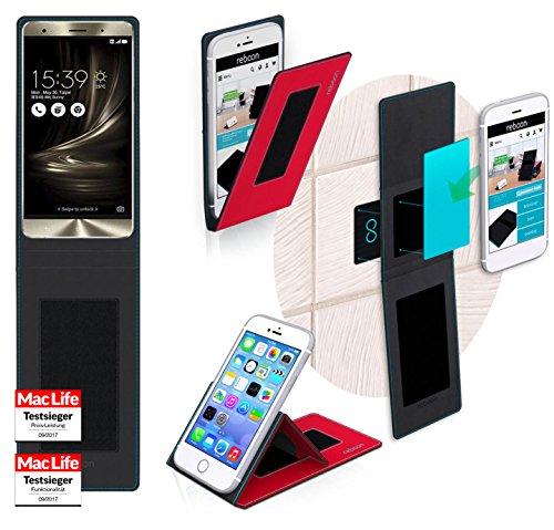 Funda para Asus ZenFone 3 Deluxe 5.5 en Rojo - Innovadora Funda 4 en 1-Anti-Gravedad para Montaje en Pared, Soporte de Tableta en Vehículos, Soporte de Tableta - Protector Anti-Golpes para Coches y Pa Rojo