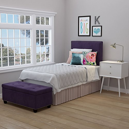 Handy Living Arabella Plum Purple Velvet Upholstered Twin Headboard and Tufted Bench Storage (Twin Tufted Bed)