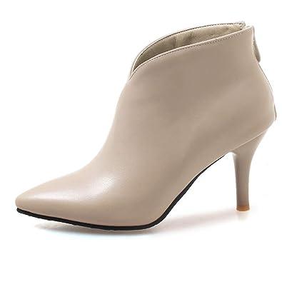 4ab8daf7fe1dcf OALEEN Bottines Femme Sexy Talon Aiguille Effet Cuir Chaussures Boots  Pointu Hiver Soirée Beige 32