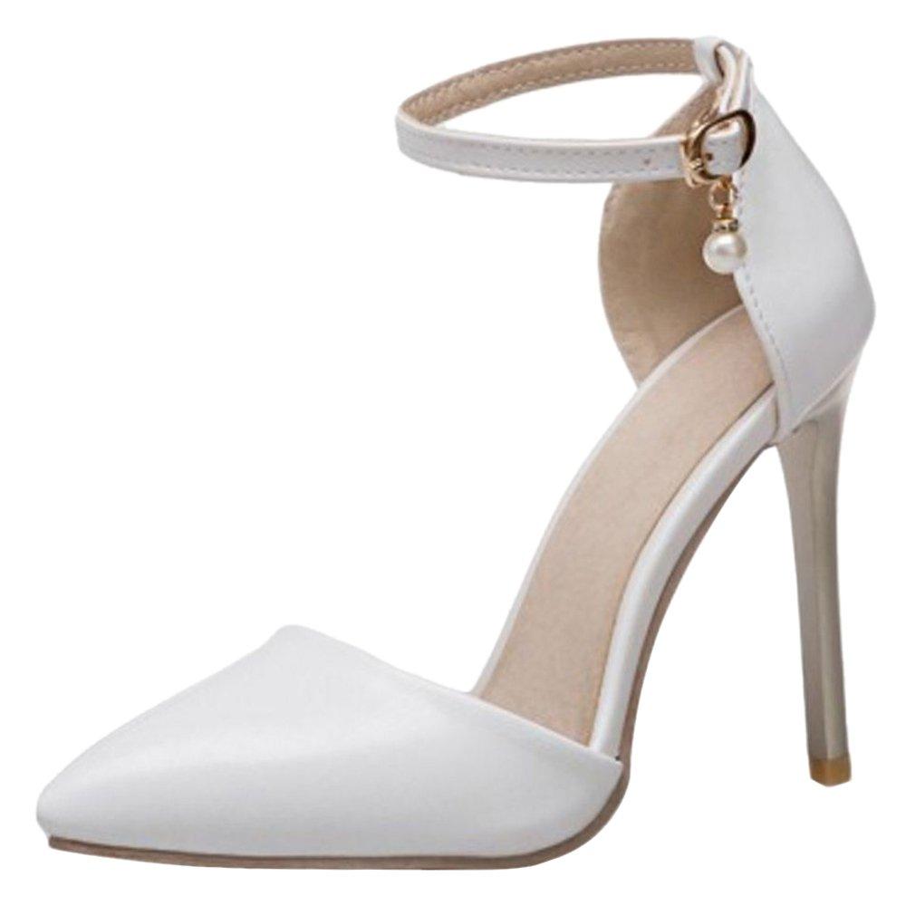 TAOFFEN Donna Tacco Altos D'Orsay Sandali Cinturino alla Caviglia White-2