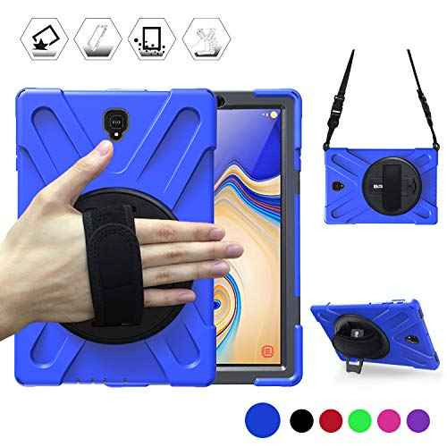 Galaxy Tab S4 10.5 2018 Case, BRAECN Three Layer Heavy Duty Drop-Proof Protective Silicone Case with Kickstand+Hand Grip+Carrying Strap for Samsung Tab S4 10.5 Inch T830/T835/T837 2018 Model (Blue)