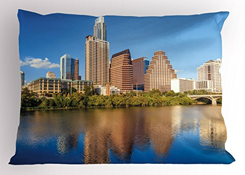 Ambesonne USA Pillow Sham, View of Austin Texas Summertime Sunny Day Park Trees Shores Waterscape View Image, Decorative Standard King Size Printed Pillowcase, 36 X 20 Inches, Blue Tan Green