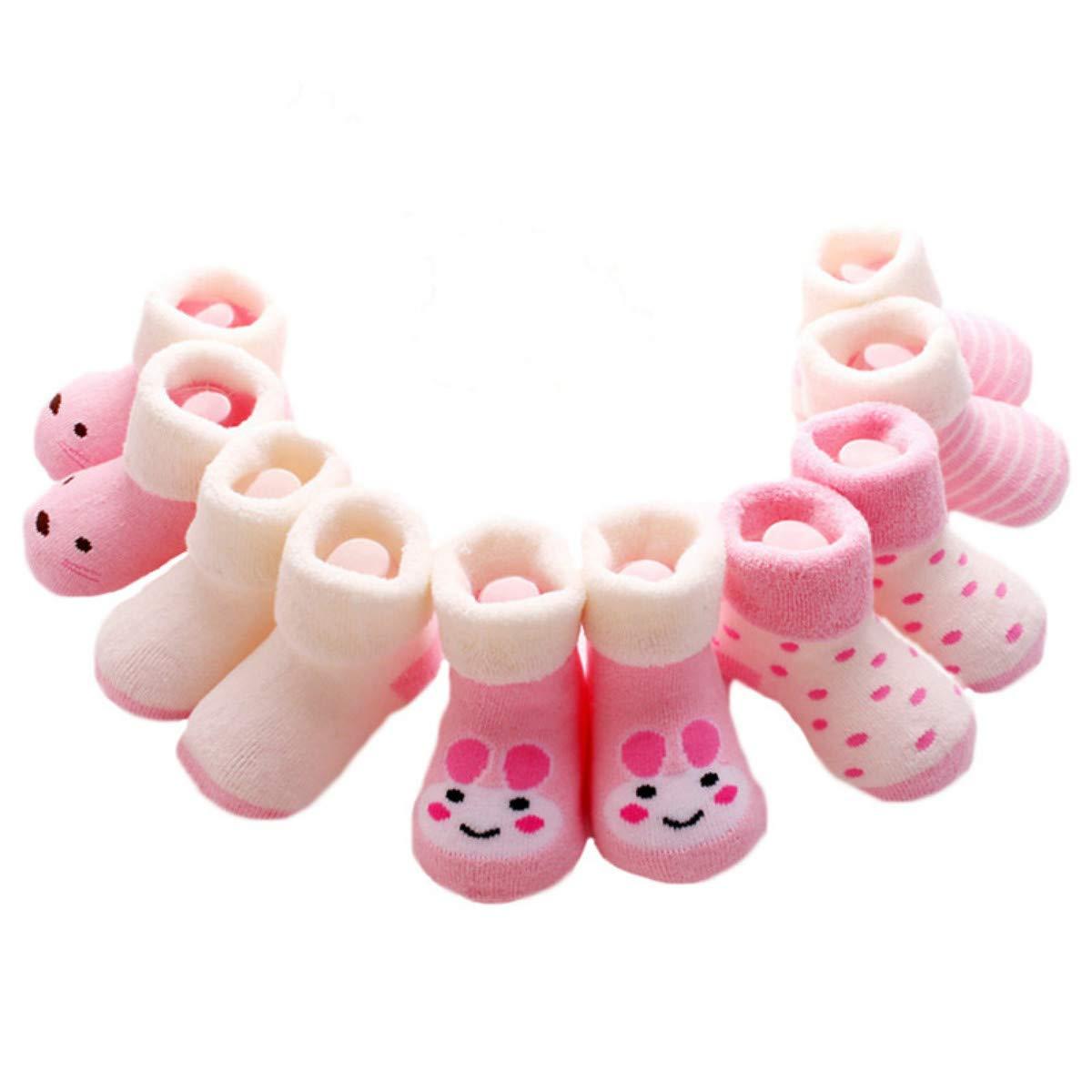 5Pairs//lot Infant Baby Boy Socks Cartoon Striped Baby Girl Socks Newborn Winter Warm Terry Socks for Newborns Baby