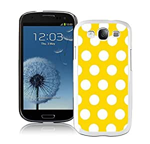 New Samsung Galaxy S3 White Case Durable Soft Silicone PC Polka Dot Yellow and White Speck Spot Cell Phone Case Cover Accessories