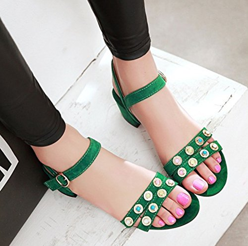 Aisun Womens Unique Studded Open Toe Dress Chunky Low Heels Sandals Shoes With Ankle Straps Green skMtp1yxf7