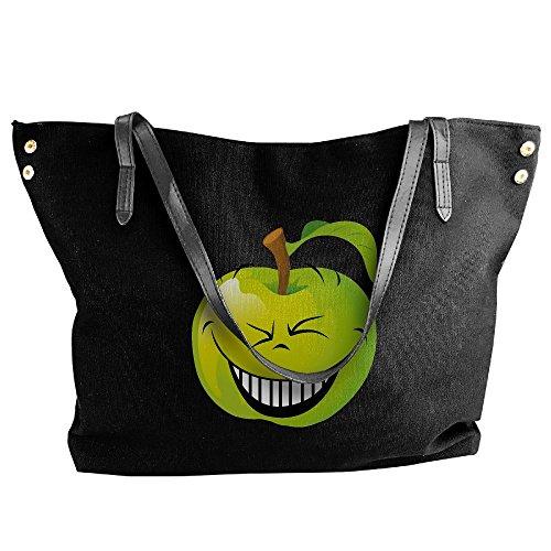 Bags Women Large Bad Tote Bags Apple Black Fashion Handbags Black Canvas Shoulder Hobo Handbags Smile Capacity PYYrE