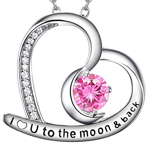 Re Besta October Birthstone Pink Tourmaline Necklace for Women I Love You to the Moon and Back Love Heart Jewelry Anniversary Birthday Gifts for Wife Her Grandma Daughter Sterling Silver 20