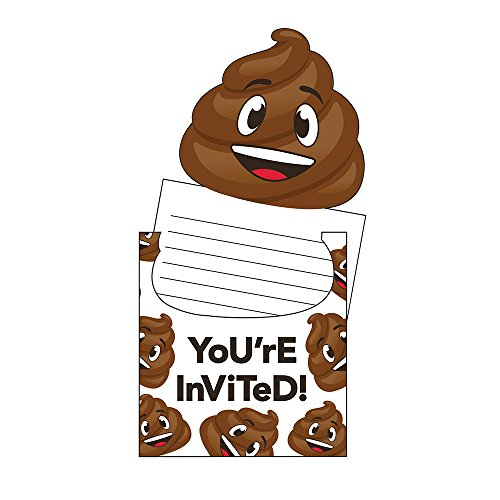 Creative Converting 329419 Poop Emojions 48-Count Pop-Up Party Invitations