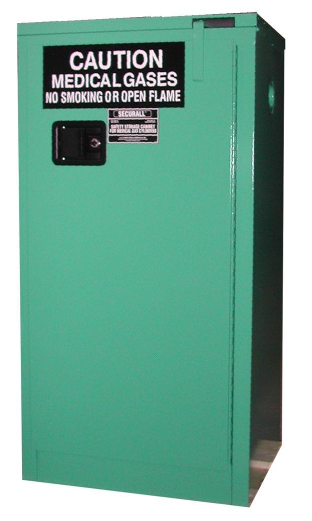 SECURALL MG121 Medical Gas Cylinder Storage Cabinet, 18-Gauge Gal. Steel, 2-Door, 44 x 43 x 18 in, 21-24 D,E Cylinder Cap, 15 YR Warranty - MG Green